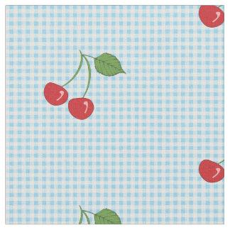 Retro Cherry Gingham Pattern Fabric