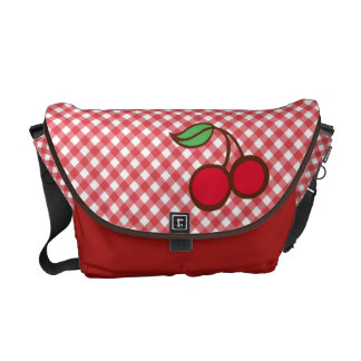 Retro Cherry Gingham Purse Travel Diaper Bag Gift Messenger Bag