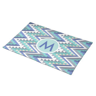 Retro Chevron Teal Blue Taupe White Monogrammed Placemats