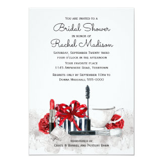 Retro Chic Cosmetics Bridal Shower 13 Cm X 18 Cm Invitation Card