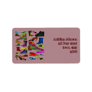 Retro Chic Girly Shoes Cartoon Cheerful Funny Address Label