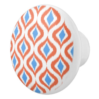 Retro Chic Orange Blue Ikat Drops Pattern Ceramic Knob