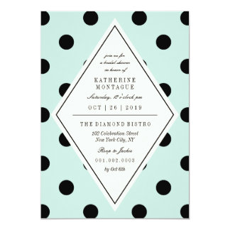 Retro Chic Polka Dots Diamond Bridal Shower Invite