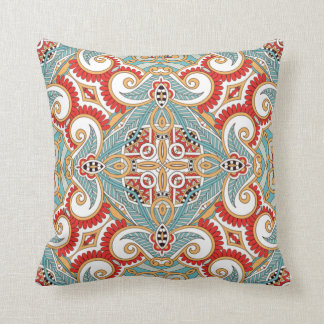 Retro Chic Pretty Red Teal Floral Mosaic Pattern Cushion