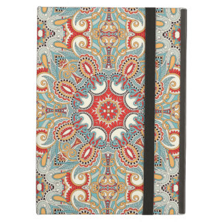 Retro Chic Red Teal Pretty Floral Mosaic Pattern iPad Air Case