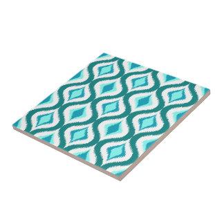 Retro Chic Teal Aqua Turquoise Ikat Drops Pattern Ceramic Tile
