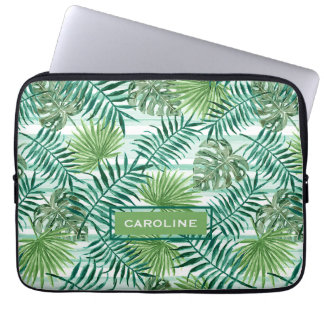 Retro Chic Tropical Green Palm Leaves Pattern Laptop Computer Sleeve
