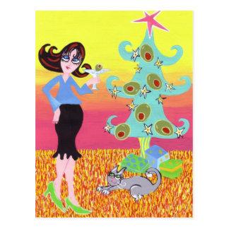 Retro Christmas and a Martini! Postcard