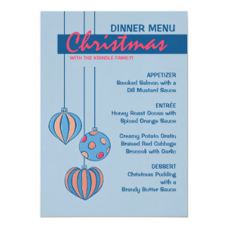 Retro Christmas Balls blue Dinner Menu 13 Cm X 18 Cm Invitation Card
