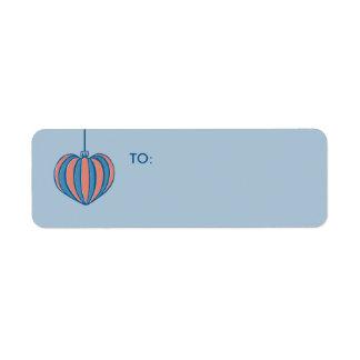 Retro Christmas Balls heart blue Small Gift Tag Return Address Label