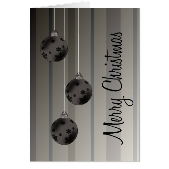 Retro Christmas Balls & Stripes Merry Christmas Card