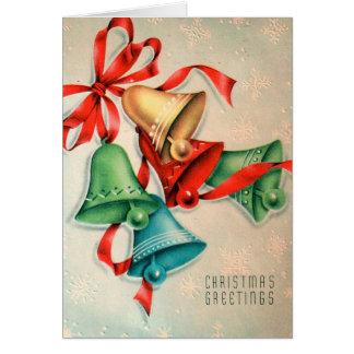 Retro Christmas bells add message card