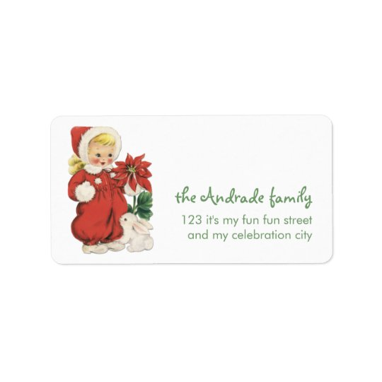 Retro Christmas Cute Blonde Girl Red Poinsettia Address Label