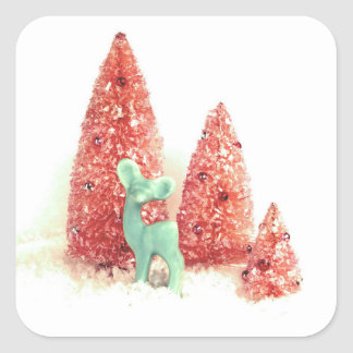 Retro Christmas Deer Square Sticker