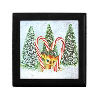 Retro Christmas Fawn Small Square Gift Box