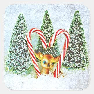 Retro Christmas Fawn Square Sticker