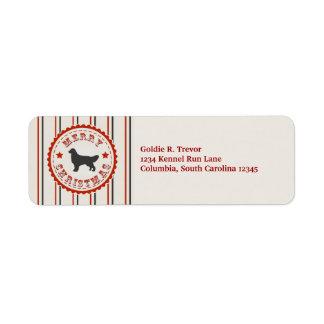Retro Christmas Golden Retriever Personalized Return Address Label