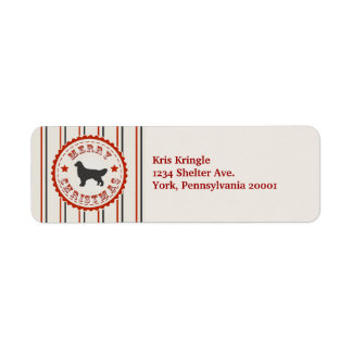 Retro Christmas Golden Retriever Return Address Label