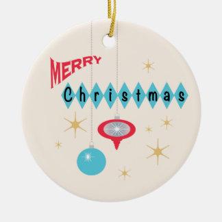 Retro Christmas greeting ornament
