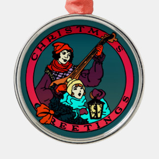 Retro Christmas greetings, child and lute player 2 Silver-Colored Round Decoration