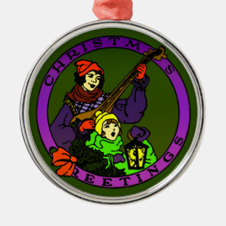 Retro Christmas greetings, child and lute player Silver-Colored Round Decoration