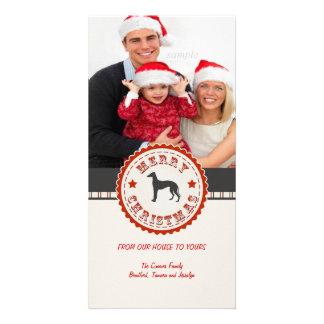 Retro Christmas Greyhound Dog Custom Photo Personalised Photo Card