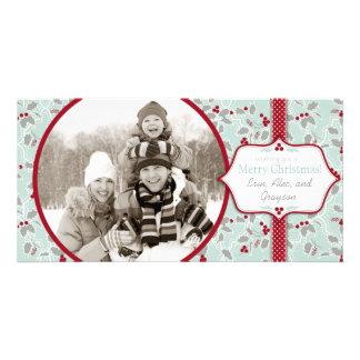 Retro Christmas Holly Photo Card
