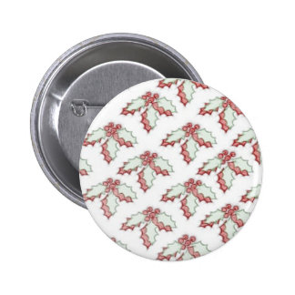Retro Christmas Holly Red Green Grunge Pin