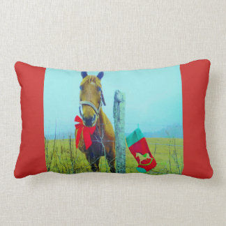 Retro Christmas Horse with Stocking and Red bow Lumbar Cushion