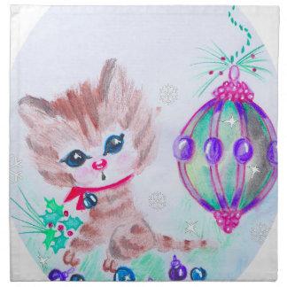 Retro Christmas Kitty Napkin