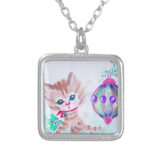 Retro Christmas Kitty Silver Plated Necklace