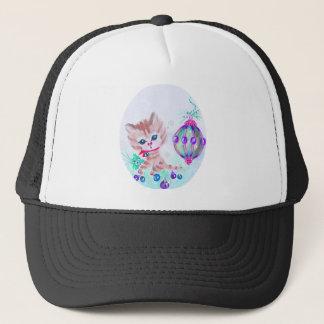 Retro Christmas Kitty Trucker Hat