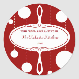 Retro Christmas Label Classic Round Sticker