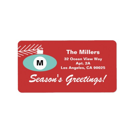 Retro Christmas Monogram Address Labels