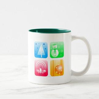 Retro Christmas Two-Tone Coffee Mug