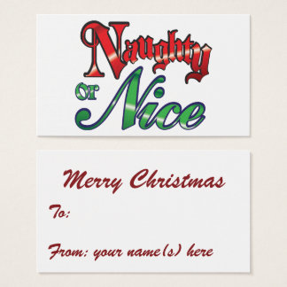 Retro Christmas, Naughty or Nice Red Green Letters Business Card