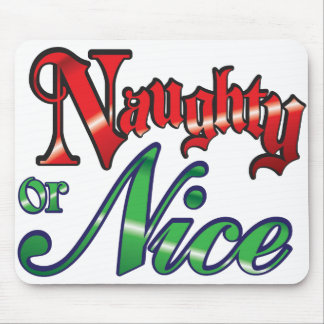 Retro Christmas, Naughty or Nice Red Green Letters Mousepads
