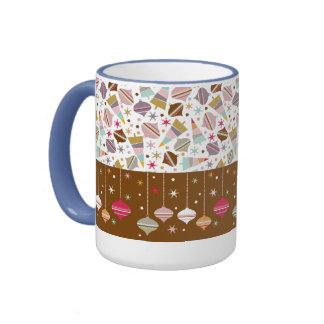 Retro Christmas Ornament Pattern Ringer Mug