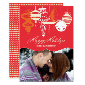 Retro Christmas Ornaments Chevron Holiday Photo Card