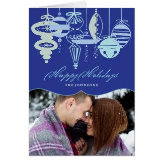 Retro Christmas Ornaments Holiday Photo Card