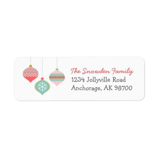 Retro Christmas Ornaments Return Address Labels