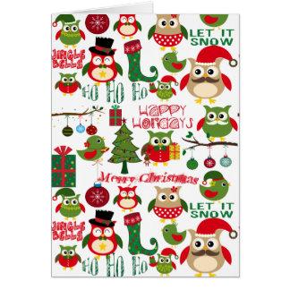 Retro Christmas Owl Pattern Greeting Card
