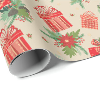 Retro Christmas Packages Merry Christmas Wrapping Paper