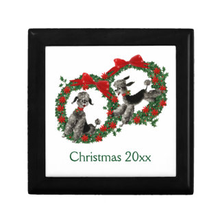 Retro Christmas Poodles in Wreaths Small Square Gift Box