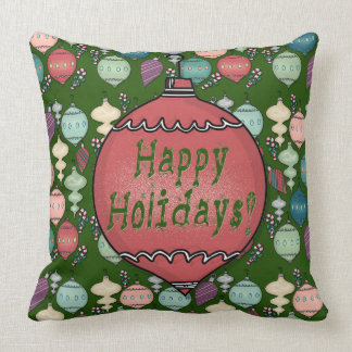Retro Christmas Reload - Pastels on Bottle Green Cushion
