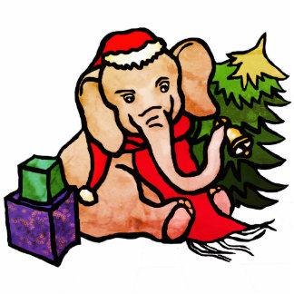 Retro Christmas Santa Cartoon Elephant Photo Sculpture Decoration
