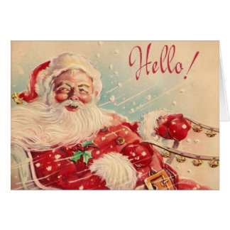 Retro Christmas Santa Greeting Card