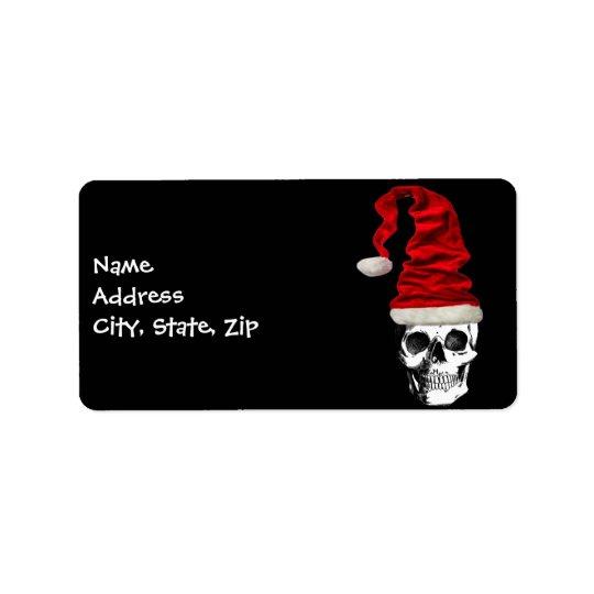 Retro Christmas Santa Skull Label