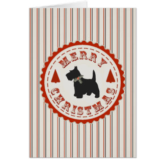 Retro Christmas Scottish Terrier Dog Custom Card