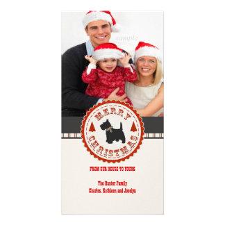 Retro Christmas Scottish Terrier Dog Custom Photo Photo Card Template